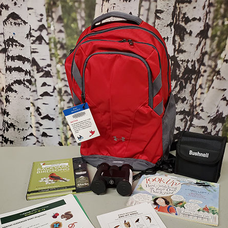 Red backpack with other accessories